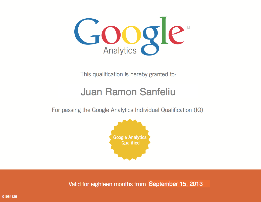 GAIQ Juanra Ya tengo el GAIQ, Google Analytics Individual Qualification