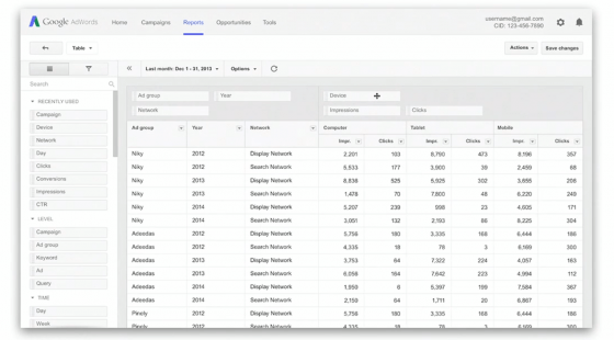 Adwords Enhanced Reporting