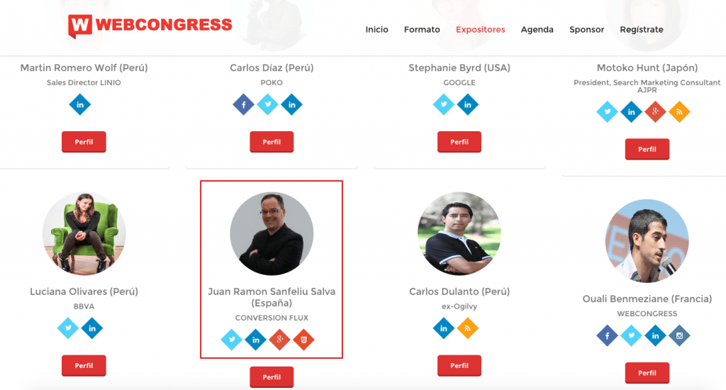 Ponentes WebCongress Lima 2015